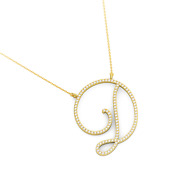 14k Gold Letter D Pendant Necklace 108 Natural Diamonds 1.18 Tcw Made In Israel