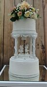 White Handmade Lighted Fairy Tale Mickey And Minnie Wedding Cake Seperater 8