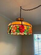 Beautiful Antique Leaded Stained Glass Hanging Lamp Shade With Free Shipping