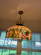 Beautiful Antique Leaded Stained Glass Hanging Cornucopias Lamp And Free Shipping