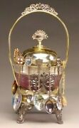 Beautiful Victorian Style Sugar Bowl With 12 Collectible Enamel Demitasse Spoons
