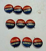 Johnson Humphrey Political Campaign Pin Back Button Sold As Lot Of 9 Buttons