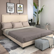 Twin/full/queen/king Size Platform Wood Bed Frame W/headboard Upholstered Beds