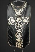 Antique French Early 19th C Silk Hand Embroidered Religious Chausable Vestment
