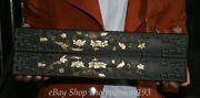14 Old Chinese Black Wood Inlay Shell Carved Plum Blossom Bird Paper Weight