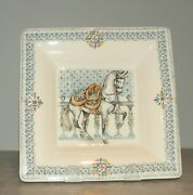 New Large Square Candy Tray Chevaux Du Soleil Pattern Gien, France