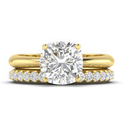 1.5ct D-si1 Diamond Bridal Set Engagement Ring 14k Yellow Gold Any Size