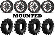 Kit 4 Superatv Intimidator Tires 36x10.5-18 On Msa M35 Bandit Red Wheels 550