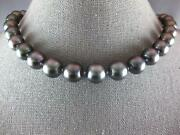 Estate Large Aaa Black Tahitian Pearl 14kt White Gold 3d Filigree Love Necklace