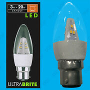 25x 3w Led Clear Candle Bc B22, Ultra Low Energy Spot Light Bulb Lamp Instant On