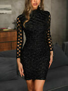 Women Bodycon Glitter Knit Dress Slim Fit Tight Skirt Cocktail Party Club
