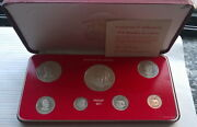 Liberia 1976 Mint Box Set Of 7 Coins,with Silver Coin,proof