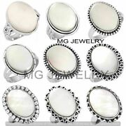 1000 Pcs Lot Natural Mother Of Pearl Gemstone 925 Silver Plated Rings Jf-552