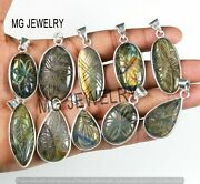 1000 Pc Lot Natural Carved Labradorite Gemstone 925 Silver Plated Pendant Jf-192