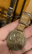 Antique Rumely Doall Tractor Brass Watch Fob With Original Leather Strap