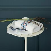 Baie By Yves Delorme, France - Organic Cotton Towel, White With Floral Band