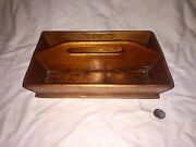 Antique Primitive 1800s Canted Side Wood Wooden Cutlery Knife Tray Box