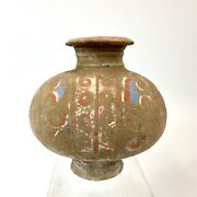 Han Dynasty 206bc - Ad220 Chinese Painted Pottery Cocoon Jar