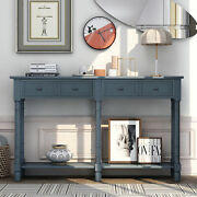 Retro Console Table Sofa Table For Entryway W/drawers And Shelf Living Room