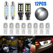 12x Car Led Interior Package Kits For Dome License Plate Light Bulbs Accessories
