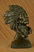 Western Old West Native American Indian Chief Collectible Bronze Masterpiece Nr