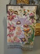 Antique Germany Embroidered Beaded Purse Floral Butterfly 11 Long - Exceptional