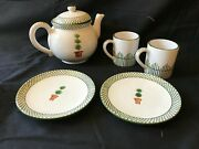 Alabaster Giardino Deruta Of Italy 1993. Teapot, Two Bread And Butter Plates,