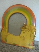 Vintage 1980s Unique Unicorn With Rainbow Standing Picture Frame