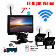 Wireless Back Up Camera 2x Ir Rear View Night System + 7 Monitor For Truck Rv