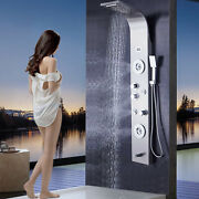 Stainless Shower Panel Tower System Led Rainandwaterfall Head Faucet Massage Jets