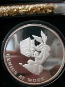 1 Oz.999 Silver Rare 1990 Wile Coyote Road Runner Bugs Bunny 50th Anniversy+gold