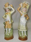 Pair Of Continental Figures Figurines Man Woman Lady Gentleman Antique