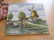 Vintage Colorful Hand Painted Made In England Tile Dutch Windmill Scene 6x6