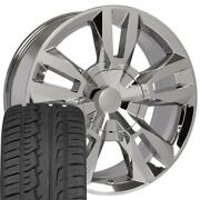 5821 Chrome 22x9 Wheel And 285/45 Tire Set Fits Suburban Tahoe Rst Rally