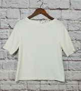 Chico's Antique White Texture Cropped Blouse Women's Size 0 New With Tags