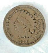 1859 Indian Head Penny Very Good Detail First Year Of Issue