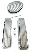 Chevy Nostalgic Polished Aluminum Finned Valve Covers And 12 X 2 Air Cleaner Sbc