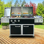 Hybrid Pellet And Gas Grill W/ 30,000 Btus, 1,027 Sq. In. Of Total Cooking Area