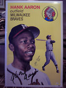 Hank Aaron Signed Geo Graphics 24x36 Poster In Style Of Topps 1954 Card- Jsa/loa