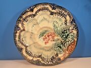 Antique Majolica Oyster Plate Flowers Leaves And Waves C.1800's