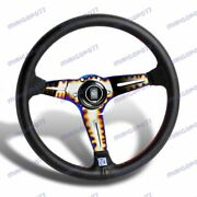 350mm Nardinew Style Leather Red Stitching Steering Wheel Neo Burn Spokes 1pcs