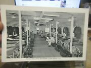 Vintage Old Postcard Illinois Camp Grant Barracks Bunk Army Military Chests Beds