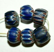 Antique Venetian Seven Layer Chevron Drawn Cane Beads African Trade From Nigeria