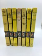 Lot Of 7 Vintage Nancy Drew Mystery Hardcovers Nancy Magnifying Glass Back Cover