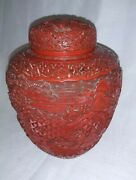 19c Chinese Cinnabar Lacquer Deep Carved Carving Jar With People