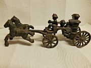 Vintage Cast Iron Horse Drawn Fire Truck Pumper Wagon And Driver