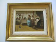 Antique Thomas Worth Oil Painting Worked For Currier And Ives Worker Women Rare