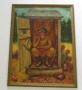Large Alan Wood Painting Outhouse Portrait Man Rifle Pioneer Americana Satire