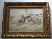 Paul Sollosy Rare Vintage Native American Indian Painting Finest Camp Tribal Art