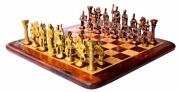 15andprime X 15andprime Collectible Rosewood Wooden Chess With Brass Roman Pieces Board Set